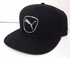 new$28 PUMA SNAPBACK HAT Black & Shiny Silver/Chrome Metallic Cat Logo Men/Women #PUMA #BaseballCap