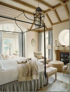 Aspen master bedroom. Mountain light. : ) Designer David Easton.