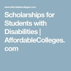 Scholarships for Students with Disabilities | AffordableColleges.com