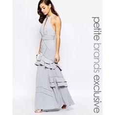 Jarlo Petite Layered Ruffle Maxi Dress ($150) ❤ liked on Polyvore featuring dresses, grey, petite, halter top, petite wrap dress, halter neck maxi dress, grey dress and gray dress