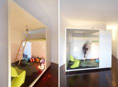 """room within a room concept seen over at Naif Magazine. It features a boxy miniature """"house,"""" complete with a door and window, and an open wa..."""
