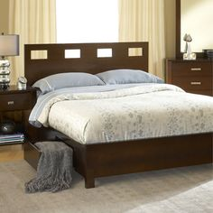@Overstock.com - Rectangular Cutout 4-drawer Chocolate Brown Storage Bed  - Sleep in style and elegance when you add this beautiful solid wood storage bed to your home decor. It features a rectangular cutout headboard for added sophistication, and the bed has two storage drawers for storing clothes and blankets.  http://www.overstock.com/Home-Garden/Rectangular-Cutout-4-drawer-Chocolate-Brown-Storage-Bed/7637332/product.html?CID=214117 $849.99