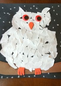 This fun ripped owl artwork is the perfect craft for a snowy winter day!