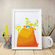 Nursery print/ Cute monster illustration/ by DilemmaPosters