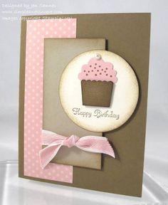 Cupcake Card- simple cards r always my favorite Handmade Birthday Cards, Greeting Cards Handmade, Simple Birthday Cards, Girl Birthday Cards, Birthday Images, Birthday Quotes, Birthday Greetings, Birthday Wishes, Cupcake Card