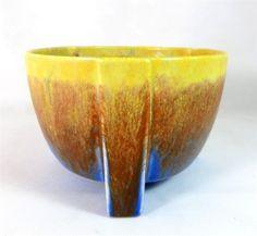 Gorgeous glazes... Art Deco Empire Ware Drip Glaze 3-Footed Art Pottery Planter Fruit Bowl 1930s - ebay £9.95