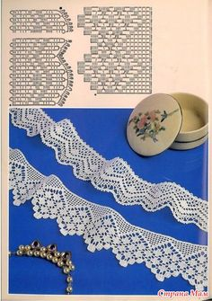 Crocheted motif no. Crochet Lace Edging, Crochet Borders, Crochet Diagram, Crochet Stitches Patterns, Crochet Chart, Lace Patterns, Filet Crochet, Crochet Doilies, Knit Crochet