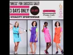 """PRESS PLAY Check out the lineup for Vivacity Sportswear's """"Dress for Success"""" 3-Day-Only Dress #Sale on select active wear dresses from Vivacity Sportswear!! - Ends Midnight Sunday, 10/26/14 {25% Off +FREE Shipping!!} YouTube"""