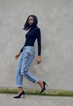 Black Turtleneck + Embroidered Boyfriend Jeans + Pumps