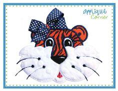 Tiger Face Girl Applique Design