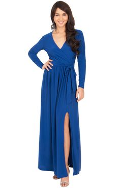 ANALISE - Long Sleeve V-Neck Cross Over High Slit Maxi Dress