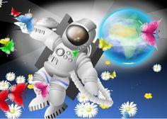 Jenseits . Welt. Astronaut . Raumschiff. Bunte Schmetterlinge Bunt, Sonic The Hedgehog, Anime, Fictional Characters, Astronauts, Spacecraft, Pictures, Cartoon Movies, Anime Music