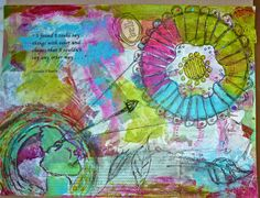 Mixed Media Art Journal #DLP page from Denise Huntington using StencilGirl stencils.