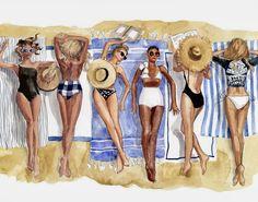 Inslee {artwork for 2017 classic calendar, August} Fashion Sketches, Art Sketches, Fashion Illustrations, Desenho Pop Art, Bff Drawings, Illustration Blume, Beach Art, Art Girl, Fashion Art