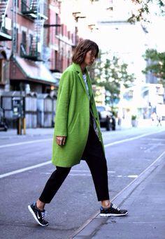 Pea green overcoat