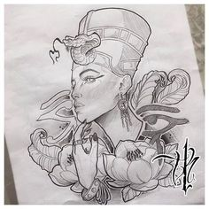 Nefertiti - Tattoo Thinks Tattoo Sketches, Tattoo Drawings, Art Sketches, Nefertiti Tattoo, Cleopatra Tattoo, Ankh Tattoo, Tattoo Ink, Body Art Tattoos, Sleeve Tattoos