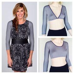d49ab6edfc340 Fall Fashion GREY Sleevey Wonders 3 4 Jersey under this Cut sleeveless dress.  Looks