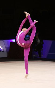 Viktoria Mazur performing ball in rhythmic gymnastics