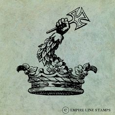 Royal Crown with Arm Holding a Crusader Cross  by EmpireLineStamps