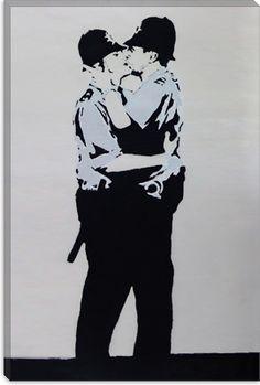 Banksy Kissing Policemen Canvas Print | Canvas Art Direct