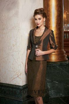 Mother of the Bride Dresses Tea Length | about Knee Length Taffeta and Lace Brown Mother of The Bride Dresses ...