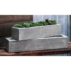 Greyleigh Rollingwood Cast Stone Planter Box Size: H x W x D, Color: Ferro Rustico Metal Wall Planters, Stone Planters, Urn Planters, Concrete Planters, Concrete Molds, Long Planter, Steel Planter, Contemporary Planters, Modern Planters