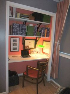 convert a wide closet to an office space. The gorgeous interior color helps set it apart. Solid Idea