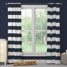 Navy Horizontal Stripe Drape Panel | Carousel Designs