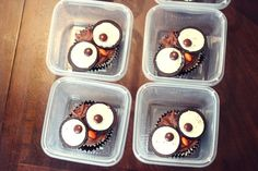 Owl Cupcakes - We gifted these for Halloween but they could be Perfect for a Thanksgiving Day Dessert Table or Owl Themed Birthday or Baby Shower! Idea from @OneCharmingParty