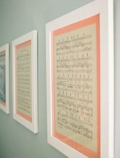 Sheets of music for the wall