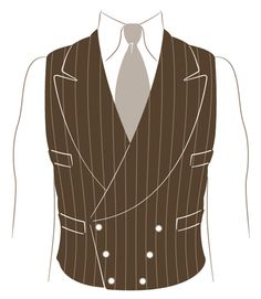 """Traditionally worn with a single-breasted, peaked-lapeled jacket (except for a short time in the mid-1930's when trend allowed for pairing with a notched-lapel), the double-breasted waistcoat is a wonderfully-detailed alternative to the conventional vest. ... arge, bawdy lapels, four bound or double-welt pockets, and six buttons in a spade-shaped configuration. ... especially attractive in a pinstripe or herringbone pattern."""