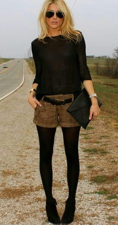 Brown shorts with black shirt