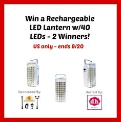 Win a Rechargeable LED Lantern Giveaway (2 Winners)