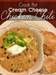 Crockpot Cream Cheese Chicken Chili.  Easy and cheap crockpot meal.  Perfect for the fall and winter!