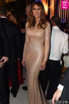Melania Trump Stuns In Glittering Gold Gown At Donald Trump's Cabinet Dinner