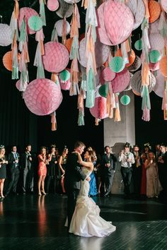 A wedding dance floor canopy made out of ribbon and tissue paper honeycomb balls in blush, peach, mint, and gray Dance Floor Wedding, Wedding Songs, Wedding Themes, Wedding Designs, Wedding Day, Wedding Dancing, Trendy Wedding, Unique Weddings, Real Weddings