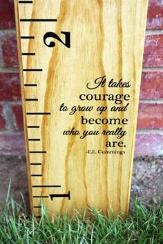 Growth Chart Ruler Add-On E.E. Cummings quote by LittleAcornsByRo