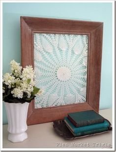 """""""Tip: you don't need to use a square doily for a square frame, most of the doilies I used were round. I also think they look better when the center of the doily is off center in the frame, it also makes it easier to attach to the frame."""" via Flea Market Trixie"""