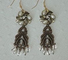 Antique Gold Chandelier Earrings, Repurposed Vintage Jewelry , Pearls $30.00