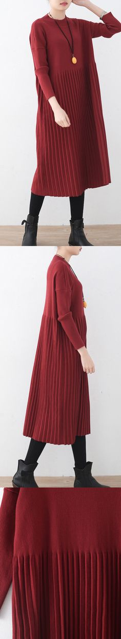 red long sweaters oversized o neck sweater top quality wrinkled fall dresses 0575f67c7
