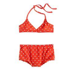 Girls' retro bikini set in polka dot | J. Crew