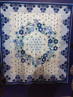 Blue wreath of hexagons by melaniemade, via Flickr