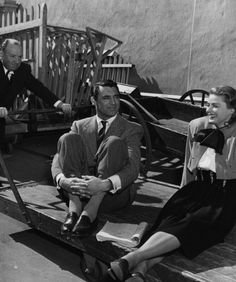 Alfred Hitchcock, Cary Grant, and Ingrid Bergman on the set of Notorious (1946, dir. Alfred Hitchcock)