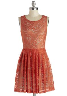 The Ingenue You Dress - Mid-length, Woven, Orange, Solid, Lace, Party, A-line, Sleeveless, Good, Exclusives, Scoop