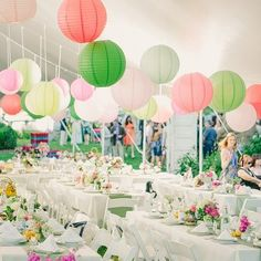 Paper lanterns are a top trend this season in events decor. Although I prefer white lanterns, the coloured lanterns are fun & create a tranquil atmosphere.