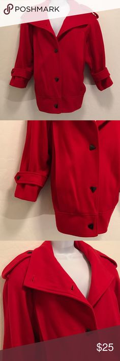 Red Black Short Crop Coat Excellent Condition, Looks New, Worn Once. Medium Heavy, Perfect for the Fall, Big Flat Victorian Collar, 2 Flat Front Pockets, Triangle Black Buttons. Very Nice. J. Gallery Jackets & Coats