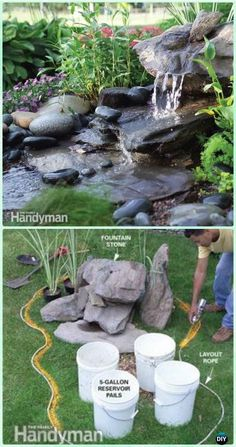 DIY Low-Maintenance Water Fountain Instruction - DIY Fountain Landscaping Ideas & Projects