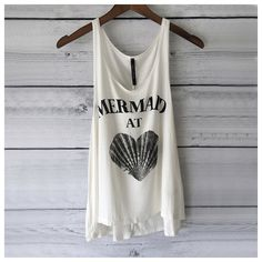 Mermaid at Heart Tank Top in Heather White Mermaid Shirt With Seashell... ($20) ❤ liked on Polyvore featuring tops, black, tanks, women's clothing, shell tank top, heathered shirt, white top, sporty shirts and print tank top