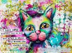 Creative Creations by Andrea Gomoll |  #PAWgustART – Cat Love Artjournal Page and Video Tutorial | http://andrea-gomoll.de; Aug 2015
