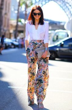White shirt with floral prints baggy pants